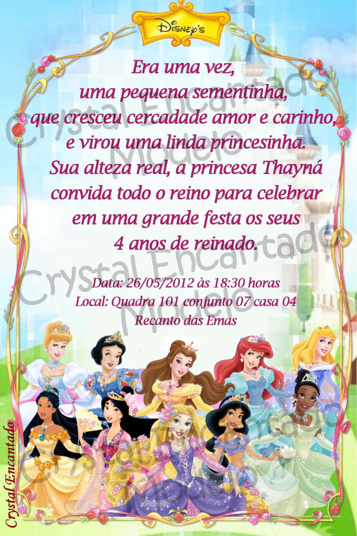 Crystal Encantado Convite E Adesivos Princesas