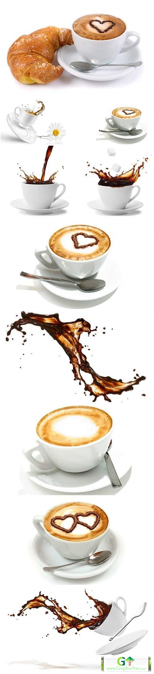 Coffee in white cups, coffee splashes
