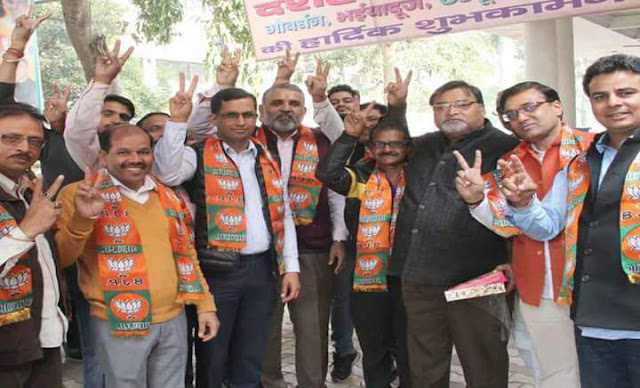Faridabad BJP leaders celebrate the tremendous win in Uttar Pradesh elections