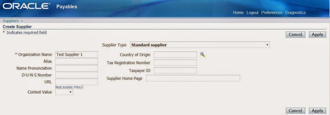 Steps to Create Supplier, Supplier Site and Supplier Banks