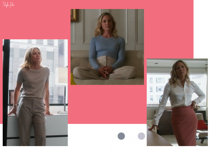Image of lawyer Michelle McBride wearing neutral trousers, pastel shades and a beachy waves hairstyle in the legal tv show drama Goliath, an Amazon Prime Original production