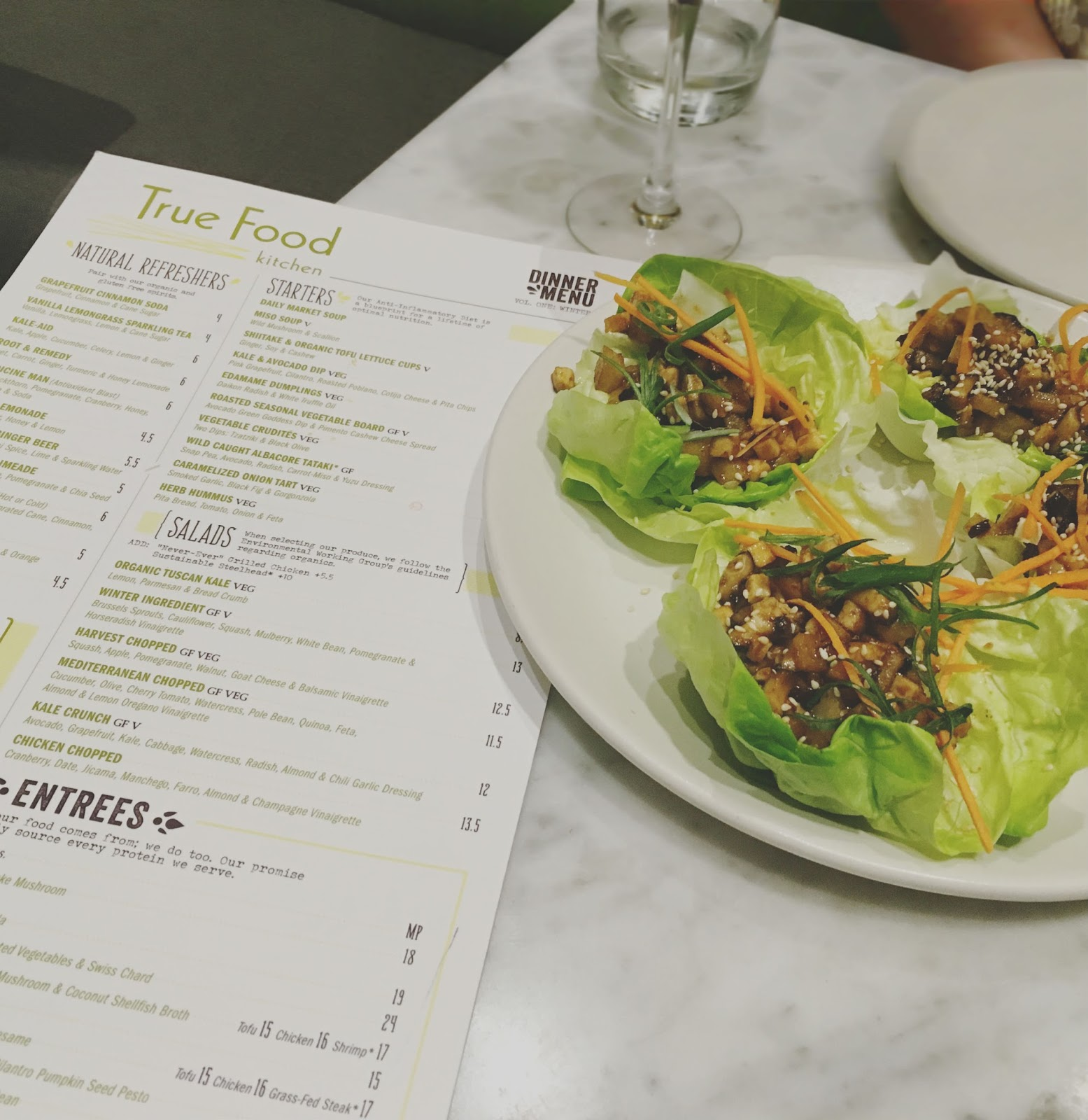 shiitake & organic tofu lettuce cups at True Food Kitchen - a restaurant in Houston, Texas