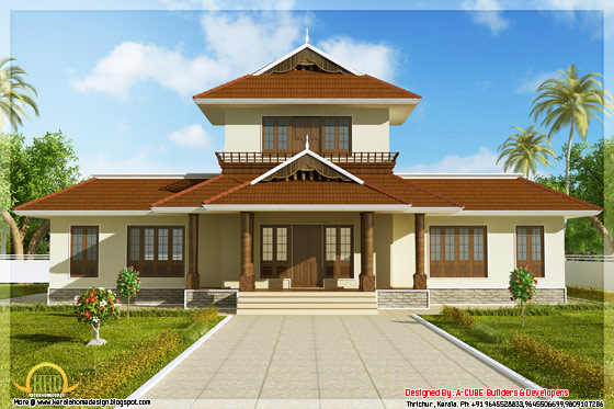 Front elevation of 1947 square feet 3 bedroom Kerala style home - May 2012