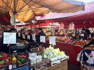 Stalls on the Porta Palazzo market in Turin, where Francesco Cirio worked from the age of 14