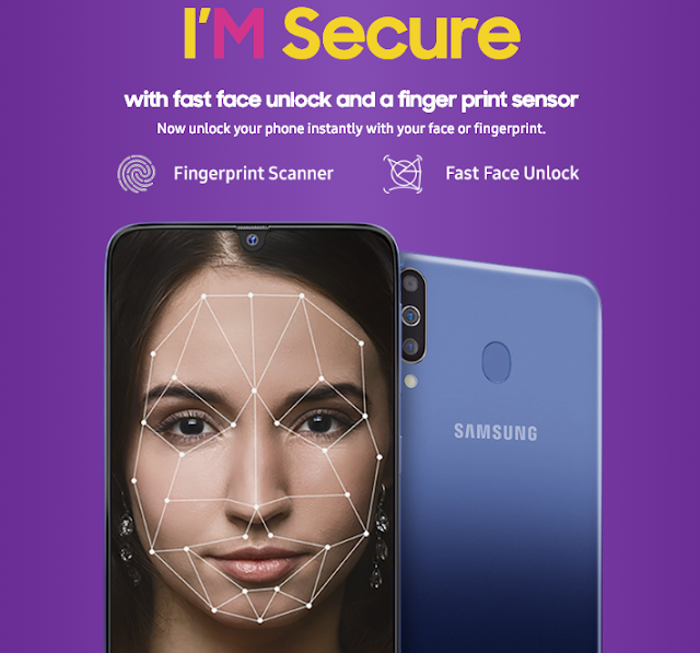 Samsung M30 face unlock and fingerprint scanner