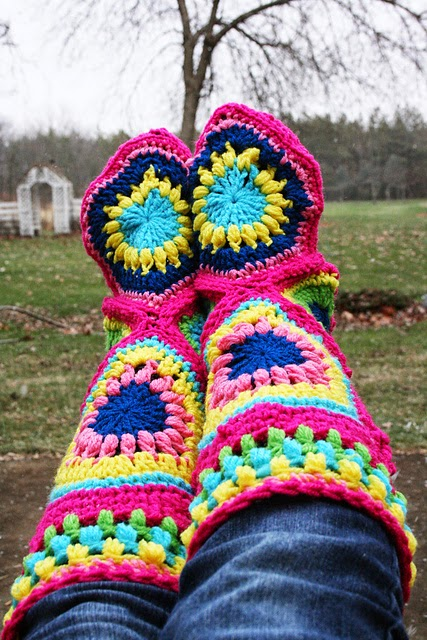 Ideas Amp Products Granny Square Slipper Boots