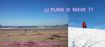 playa o nieve al reves del mundo