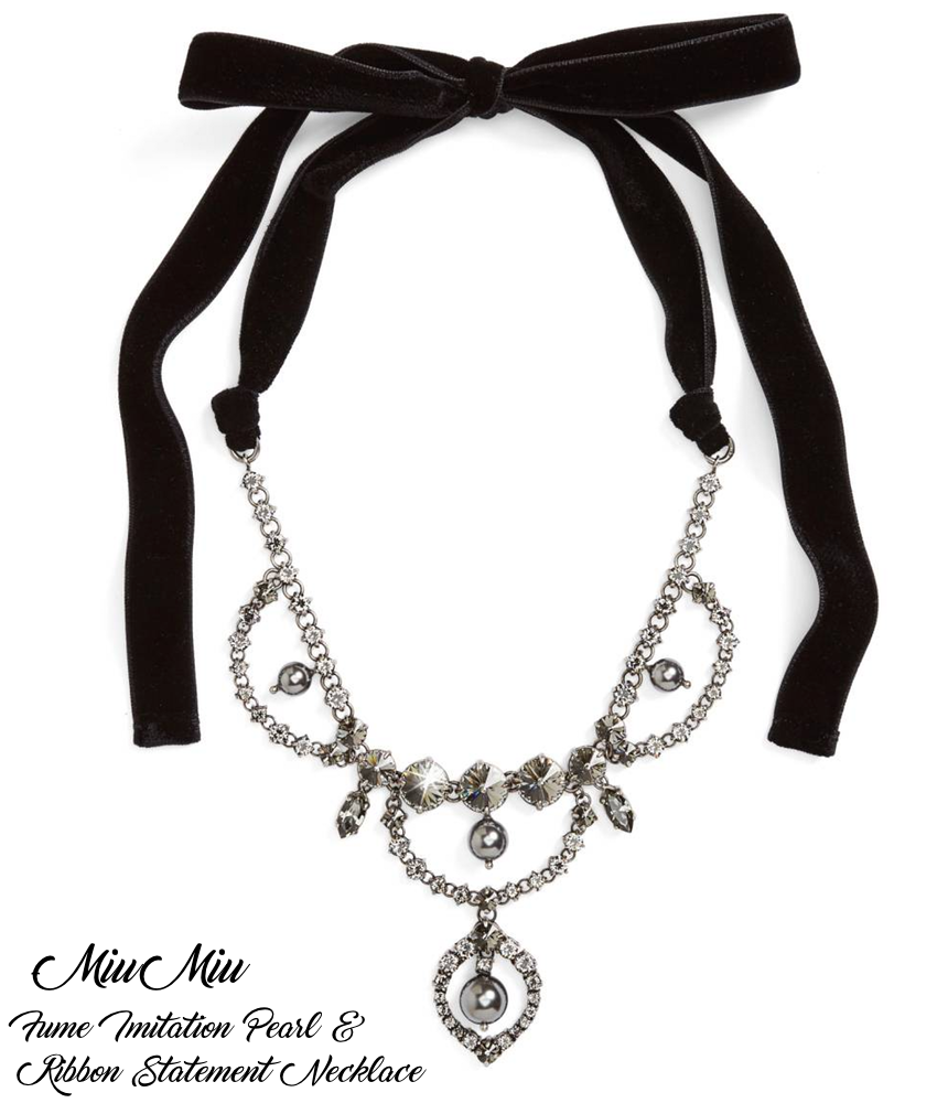 Miu Miu Fume Imitation Pearl & Ribbon Statement Necklace