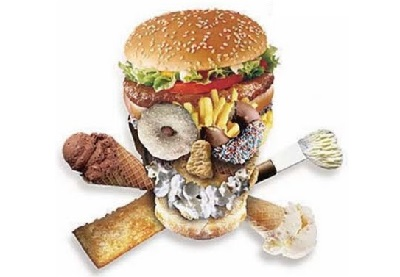 Calavera hecha de comida basura