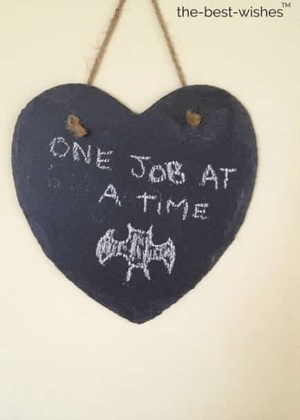 job heart slate bat chalk good morning quote