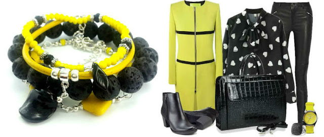 Stylizacja z żółto czarnymi ubraniami i bransoletkami z kamieni.