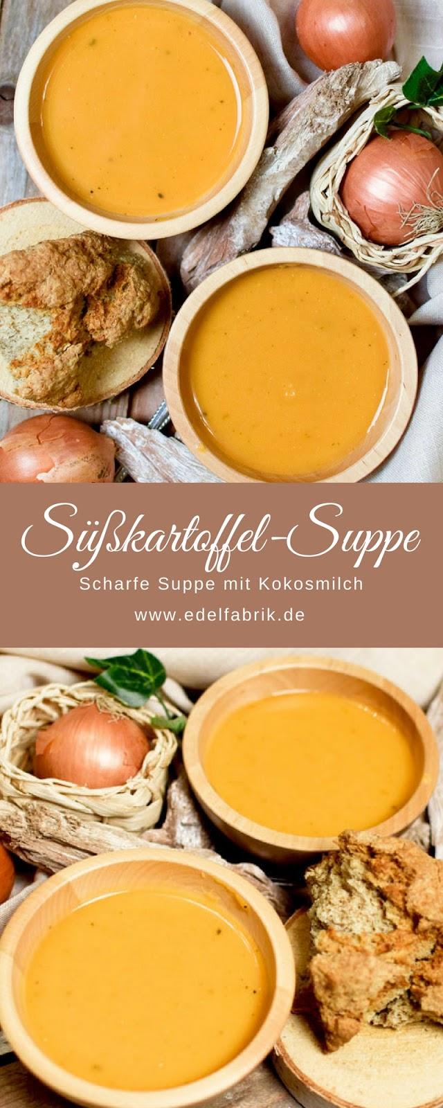 leckere, vegetarische Suppe mit Süßkartoffeln