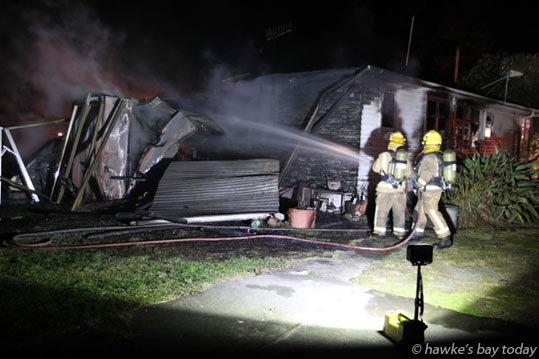 House fire in Waiohiki Rd, Waiohiki, Napier. photograph