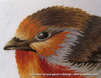 Detail of thread painted robin's head. (Robin by Trish Burr (Inspirations))