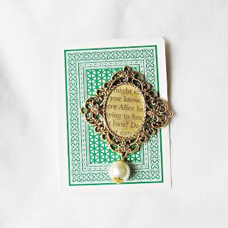 image alice in wonderland brooch pin bouquet pearl bead lewis carroll two cheeky monkeys handmade