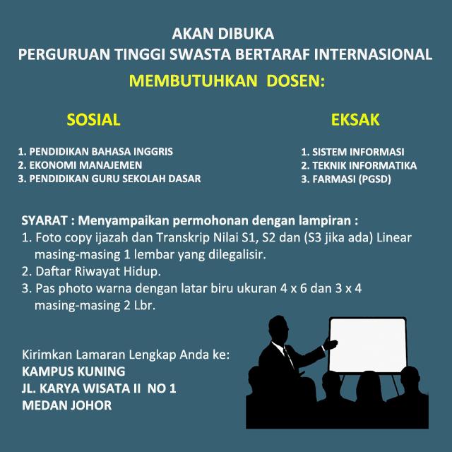 Lowongan Kerja Dosen Di Perguruan Tinggi Sawsta Medan Medanloker