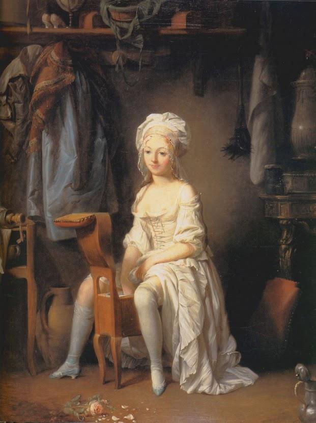 Imagen: mujer sobre un bidet antiguo