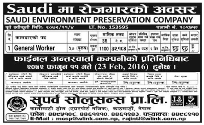Jobs in Saudi Arabia for Nepali, Salary Rs 32,184