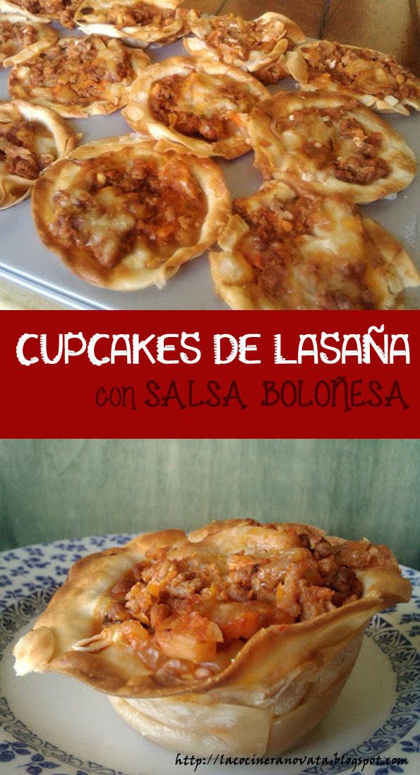 CUPCAKES DE LASAÑA CON SALSA BOLOÑESA la cocinera novata RECETA PLATO GASTRONOMIA ITALIA ITALIANA BOVRIL RICOTTA QUESO PARMESANO CARNE PICADA TERNERA OBLEAS EMPANADILLAS