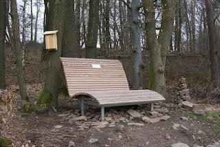 Man sieht eine breite, ergonomisch geformte Bank. Am Baum dahinter befindet sich ein heller Holzkasten, der einem Vogelkasten ähnelt.