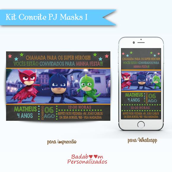 Kit de artes digitais para convite de impressão e whatsapp PJ Masks