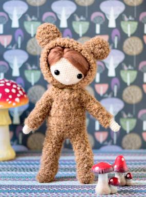 Crochet pattern amigurumi doll girl in bear onesy