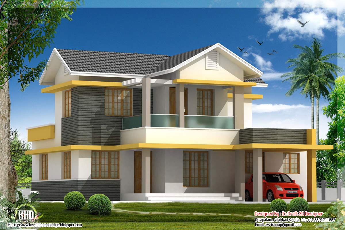 Beautiful 4 bedroom house elevation in 1880 for Sloped roof house plans in india