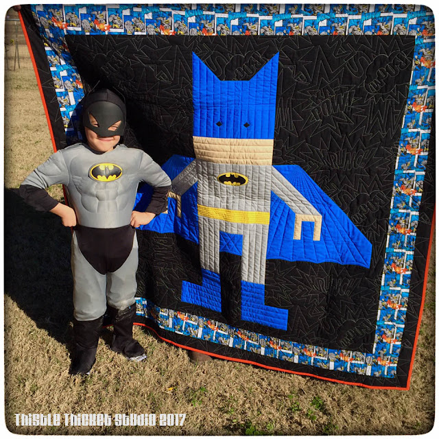 Thistle Thicket Studio, Lego Batman, batman, lego quilt, batman quilt, quilts, quilting