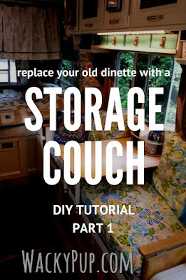 Part 1 - Replacing useless dinette with great couch and storage! Even a table system. Step two of three. Visit to see more unique ideas for small campers, rvs and tiny houses!