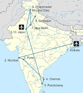 India by train. Our route.