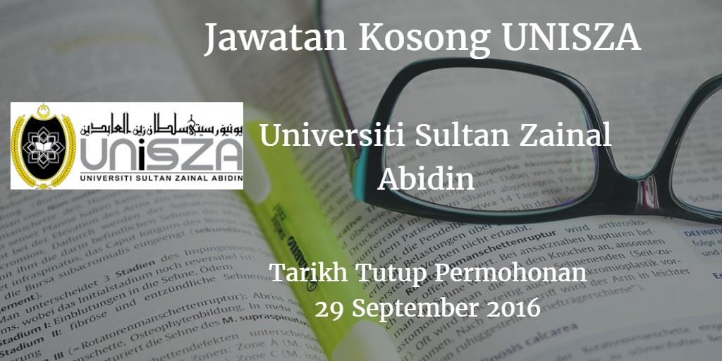 Jawatan Kosong UNISZA 29 September 2016