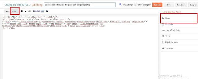 Cách đăng bài template blogspot megashop