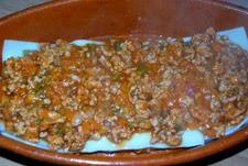carne de la lasaña a capas