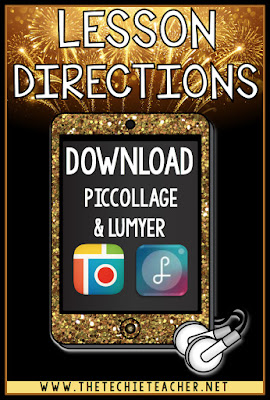 Directions on creating a New Years Resolution animated GIF using the free ipad apps, PicCollage and Lumyer