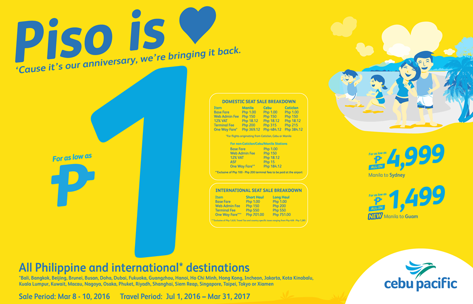 Philippine Contests Promos Giveaways Sales And Discounts Sulitipid Cebu Pacific Piso Fare 2016