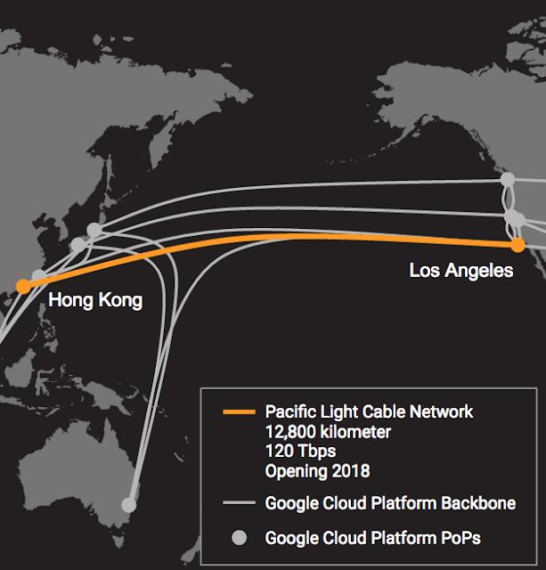Google y Facebook construirán un cable que cruce el océano pacifico 2018