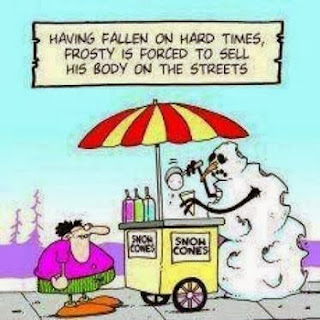 Funny snowman cartoon picture - Having fallen on hard times, Frosty is forced to sell his body on the streets