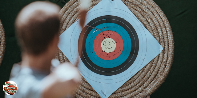 "Header image of the article: ""A Short Guide To Accomplish Your Most Difficult Goals"". Target, shot, bow, arrow, analogy, success, goals, goal setting, achieving goals, accomplish difficult goals."