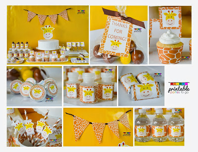 ●●●GIRAFFE PARTY PRINTABLE SET●●●