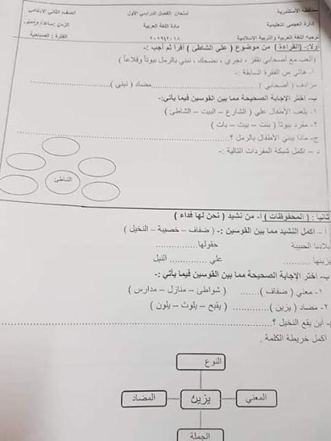 امتحانات الصف الثاني الابتدائي 2019 |  ترم اول | جميع المواد