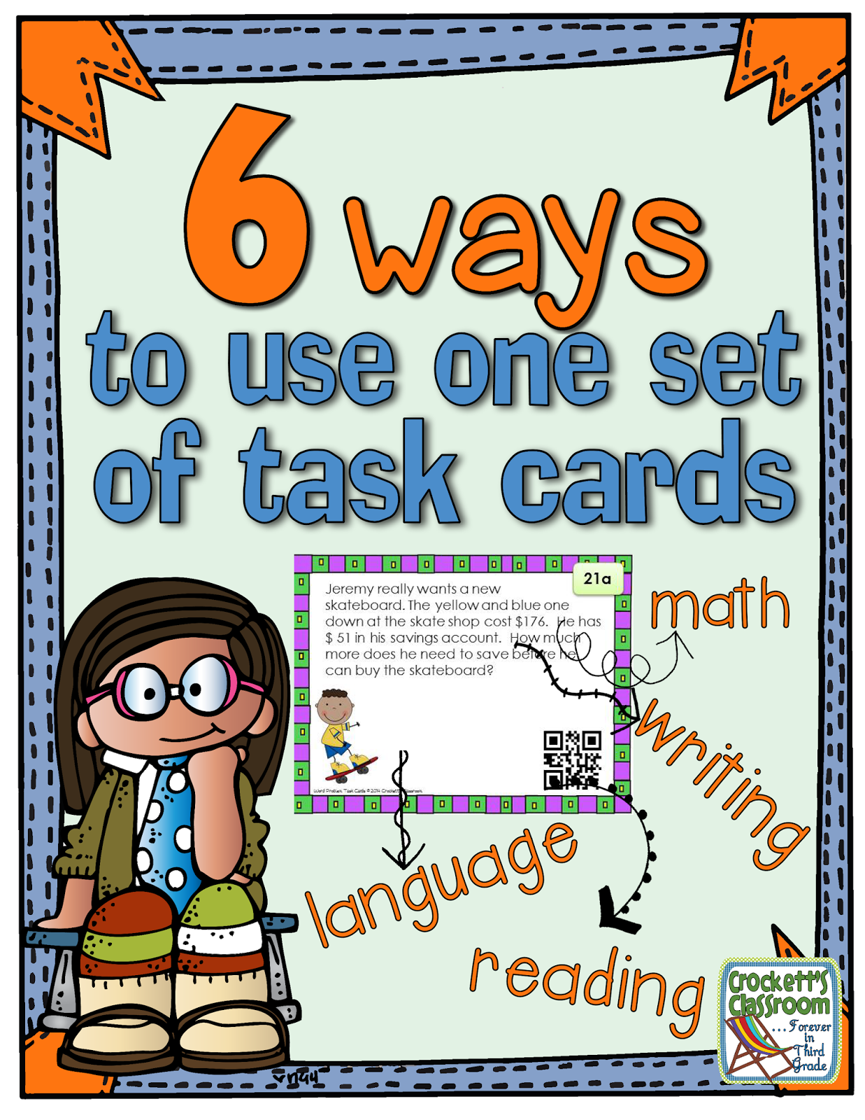 Get more from your task cards.  Learn how to use one set of task cards for math, reading, language, writing and other fun activities.