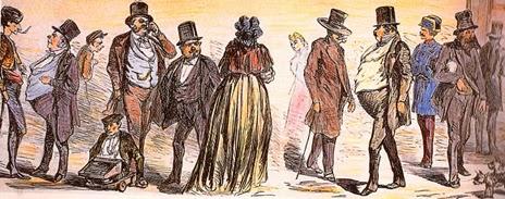 El grabado muestra un grupo de hombres y mujeres de distintas clases sociales de la época