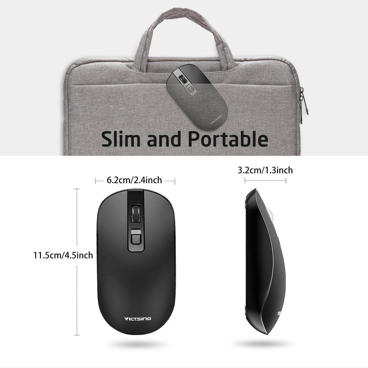VicTsing 4-Button Slim Silent Wireless Mouse