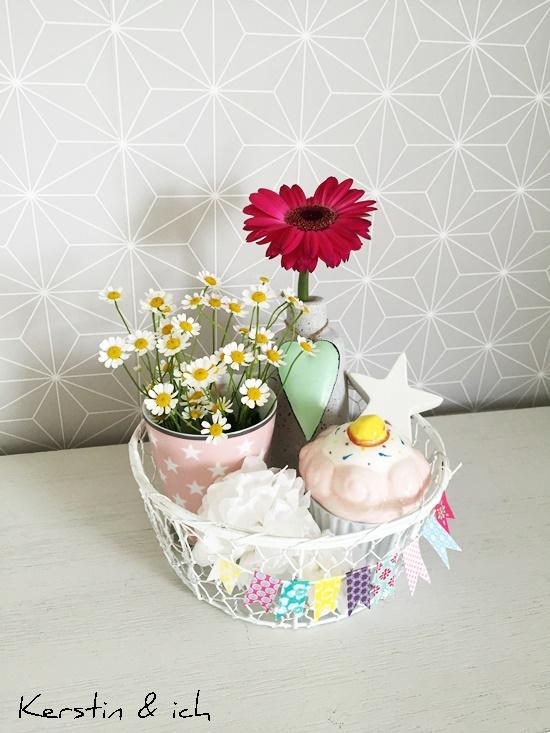 Blumen bunt Wimpelkette