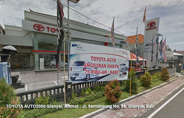 TOYOTA AUTO2000 Gianyar, Alamat : Jl. Semabaung No. 89, Gianyar, Bali