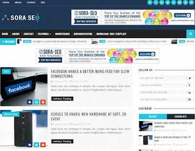 Sora Seo-Premium Blogger Template 2018
