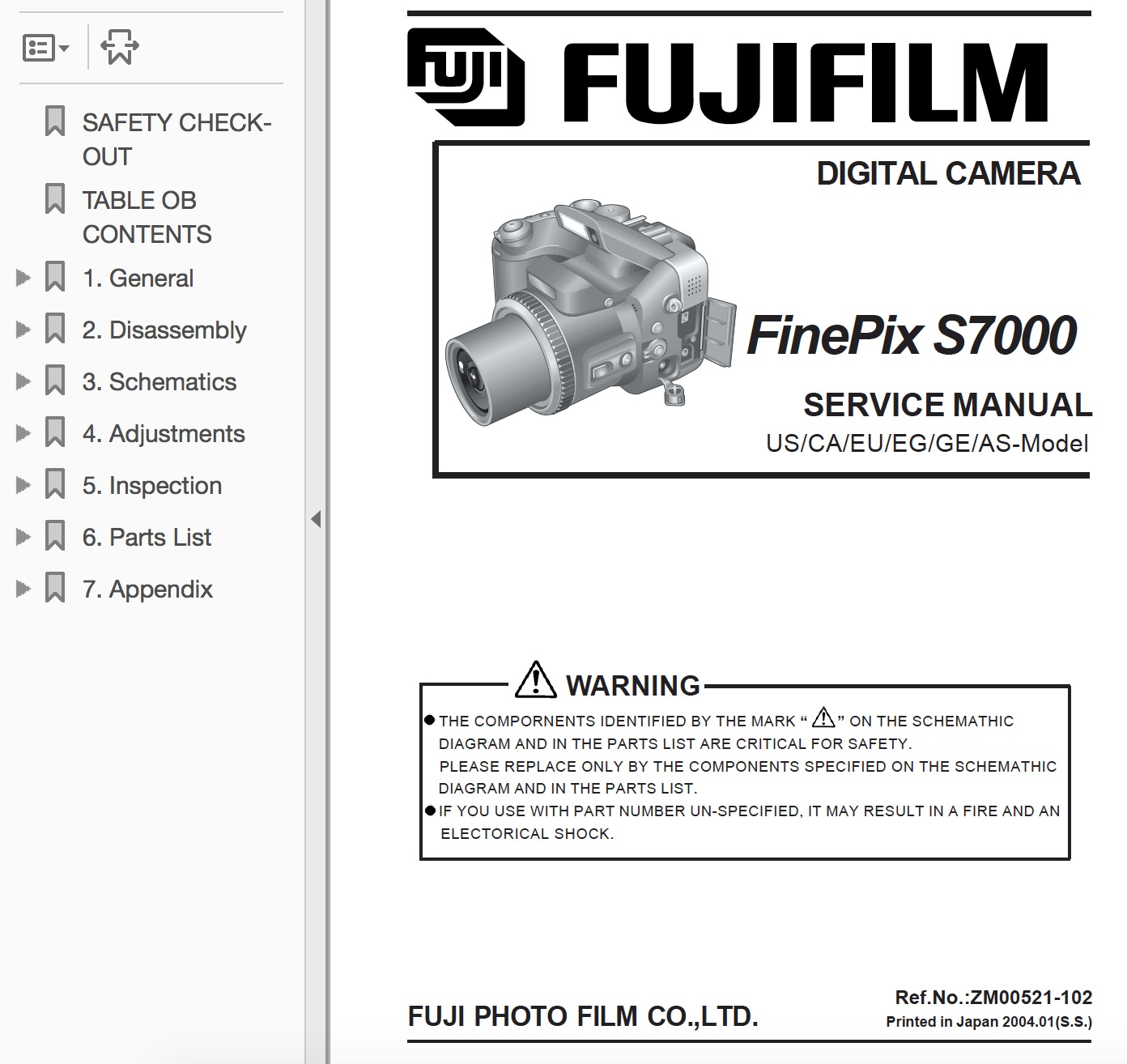 FUJIFILM FinePix S7000 Digital Camera Service Repair Manual