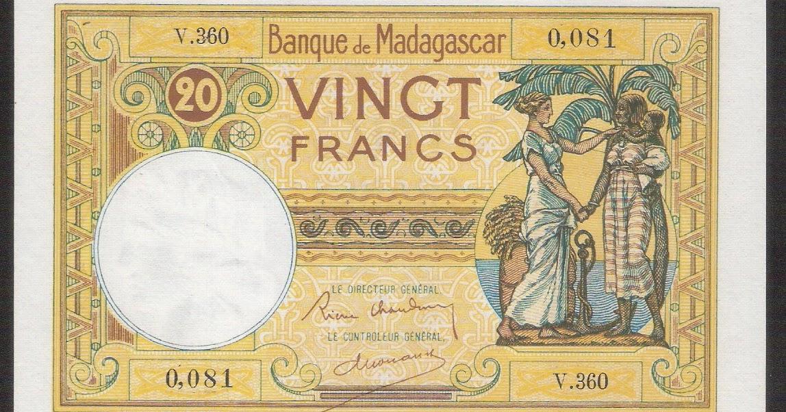 Madagascar banknotes 20 Franc note 1937 Banque de ...