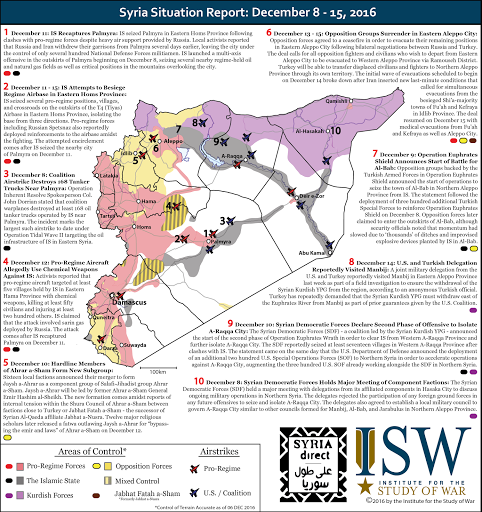 Syria Situation Report: December 8 - 15, 2016