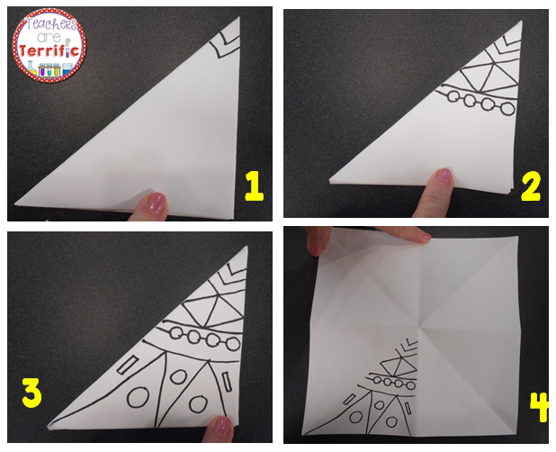 ART or STEAM Project: This is step two of making Kaleidoscopes! Using only one of the triangles made by folding the paper, you draw designs all the way to the edges of the paper. More on my blog!